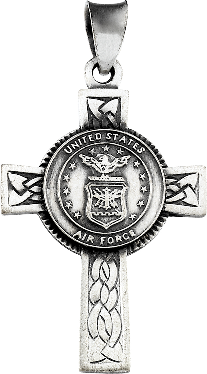 925 Sterling Silver Us Air Force Cross Charm Pendant - 28.5mm