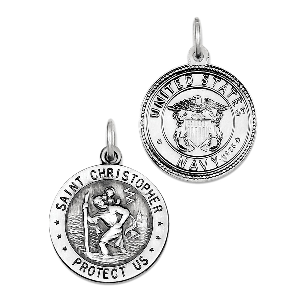 925 Sterling Silver St. Christopher Us Navy Medal Charm Pendant - 25mm