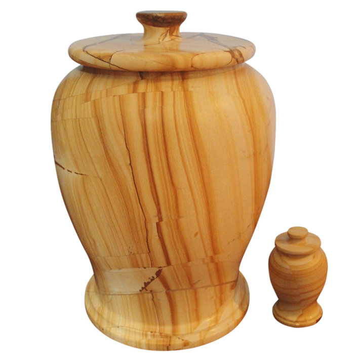 Brand New Teak Wood Marble Cremation Funeral Urn adult and keepsake  Set for ashes