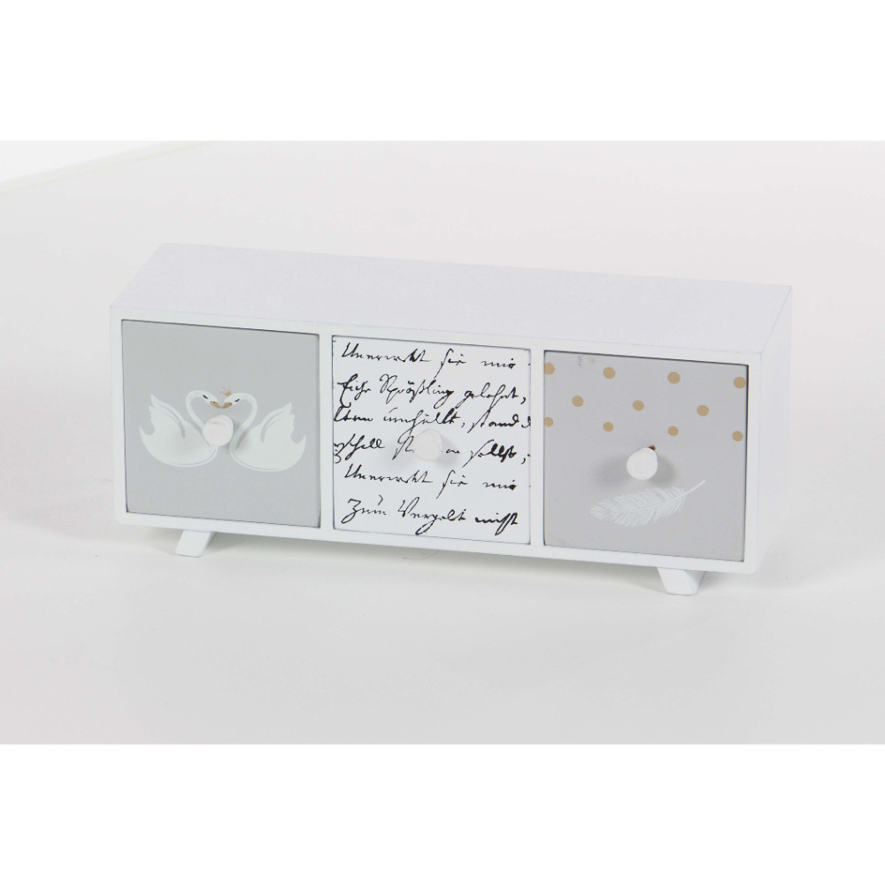 Striking wood decor chest, white
